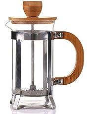 Pceewtyt 350 ml French Press milieuvriendelijk bamboe deksel koffiezetapparaat thee kooktoestel van glas koffiepers koffie ketel