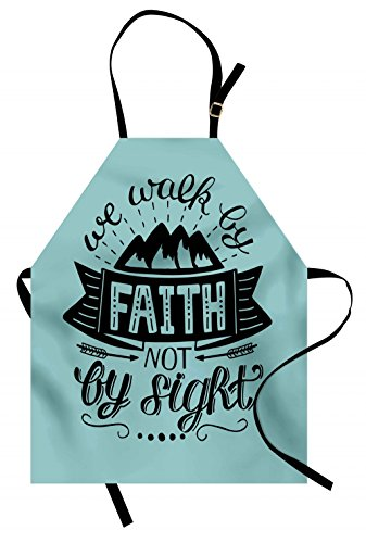 Lunarable Religious Apron, We Walk by Faith not by Sight Typography Art with Mountain Hills, Unisex Kitchen Bib Apron with Adjustable Neck for Cooking Baking Gardening, Dark Sky Blue and Black by Lunarable