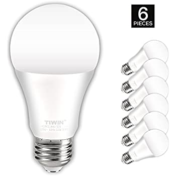 TIWIN LED Light Bulbs 100 watt equivalent (11W),Soft White (2700K), General Purpose A19 LED Bulbs,E26 Base ,UL Listed, Pack of 6
