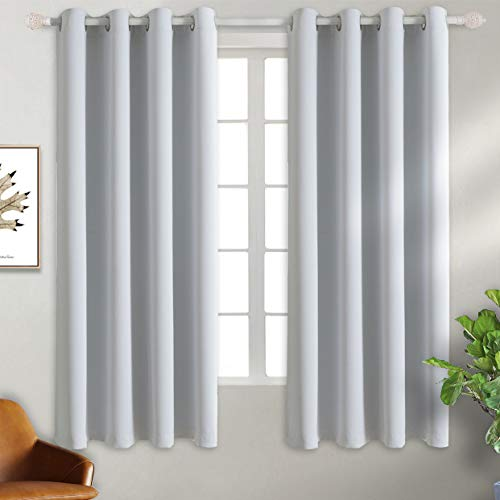 BGment Blackout Curtains - Grommet Thermal Insulated Room Darkening Bedroom and Living Room Curtain, Set of 2 Panels (52 x 63 Inch, Greyish White)