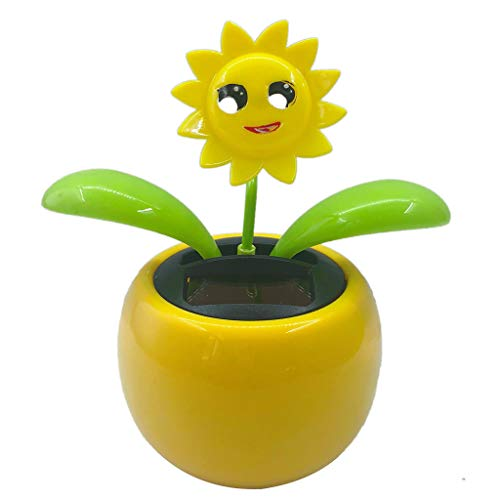 LOVIVER Solar Powered Dancing Swing Toy Flower Pot Flip Flap Toys Car Home Decor - Sunflower 2, 10.5x6.5x11.3cm