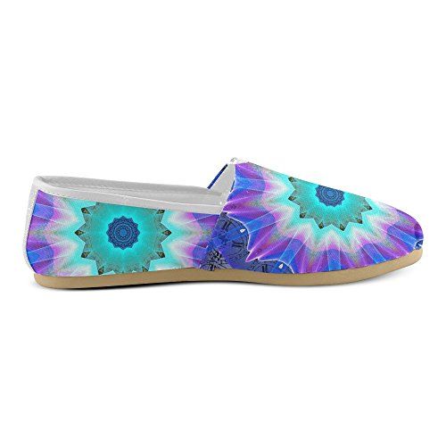 hot sale Blue Ice Merry Aqua Violet Foliage Flowers Zen Casual Shoes Loafers For Women (004)