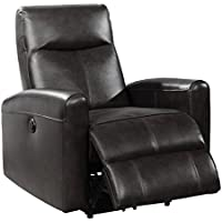 AC Pacific Eli Collection Contemporary Leather Upholstered Electric Recliner Chair With Adjustable Headrest, Low Arms, Black