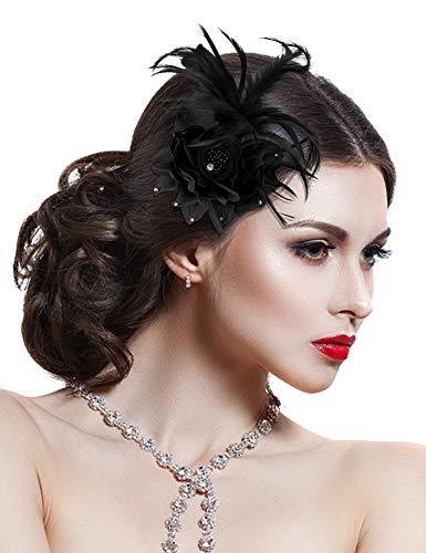 Hotvivid Fascinators for Women Tea Party Wedding Headband Feather Brooch Flower Mesh Hair Clip (Black)