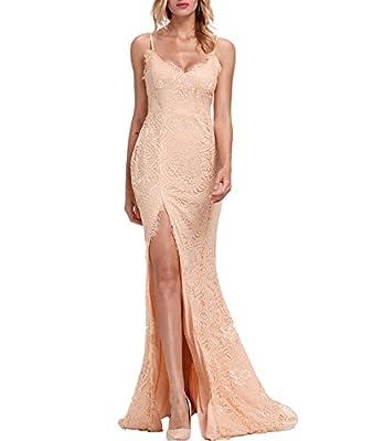Lalagen Women's Floral Lace Split Long Formal Wedding Dress Evening Gown