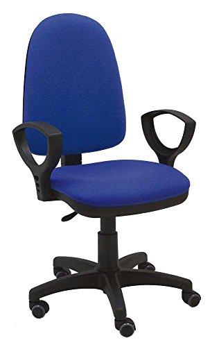 La Silla de Claudia - Silla giratoria Torino azul ergonomica reposabrazos y asiento ajustable con ruedas de parquet y contacto permanente