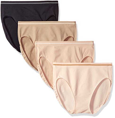 Ellen Tracy Women's Seamless Flawless Fit Hi Cut Panty (Pack Of 4), Sun Beige/Black/Latte/Natural, M