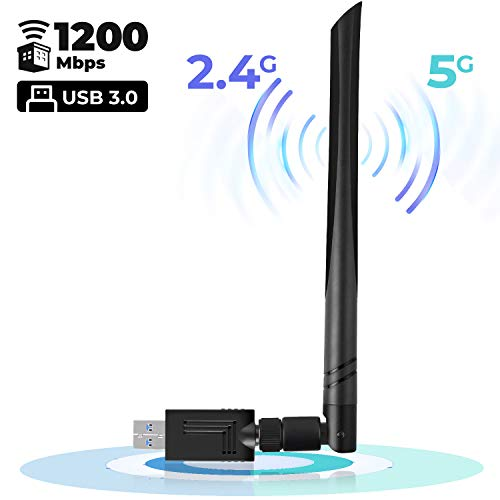 USB WiFi Adapter 1200 Mbps USB Wireless Network Adapter with Dual Band 2.4GHz/300Mbps+5GHz/866Mbps 5dBi Antenna for Desktop Windows XP/Vista/7/8/10 Linux Mac