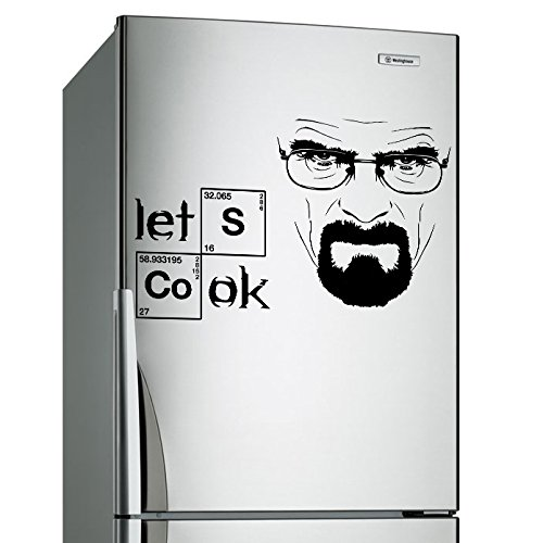 Slaf Ltd. (24'' x 15'') Vinyl Wall Decal Breaking Bad Heisenberg Quote/Lets Cook Text Art Decor Sticker + Serious Walter White Mural + Free Random Decal Gift!