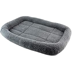 UEETEK Soft Plush Pet Dog Cat Sleeping Bed, Autumn Winter Cushion, Removable and Washable Pet Soft Bed for Puppy Kitty - Size M (Grey)