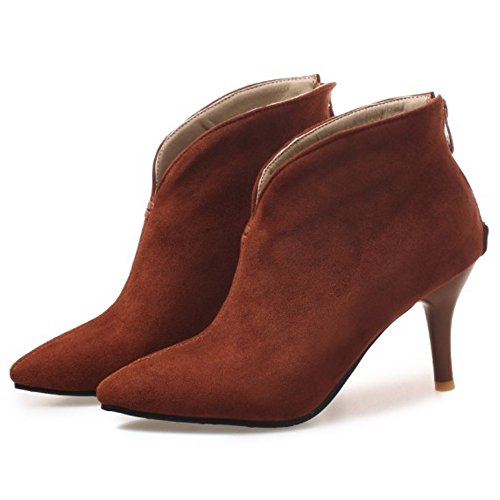 Brown Women Bootie Zipper Dress Coolcept Boots Fashion YpRT4O4