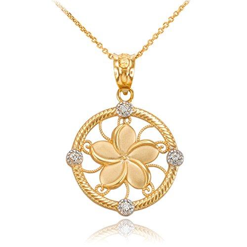 14K Yellow Gold Hawaiian Plumeria Flower Diamond Pendant Necklace (22)