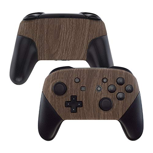 eXtremeRate Soft Touch Faceplate and Backplate for NS Switch Pro Controller, Wood Grain Patterned DIY Replacement Shell Housing Case for NS Switch Pro Controller - Controller NOT Included