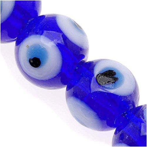 Lampwork Glass Novelty Evil Eye Beads 10mm Round Dark Blue With Light Blue (20) -