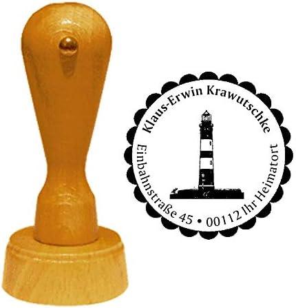 Stempel Adressstempel /« Leuchtturm Insel Amrum /» Durchmesser ca /Ø 40 mm Motiv und Zierrand mit pers/önlicher Adresse
