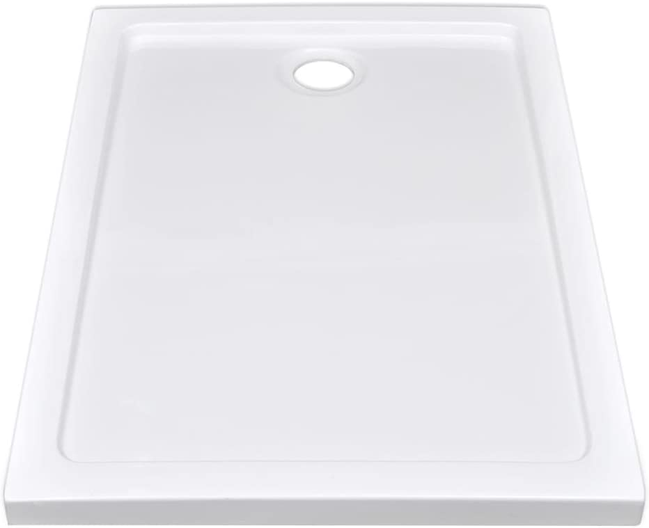 vidaXL Plato Ducha Rectangular Antideslizante ABS Blanco 70x100 cm ...