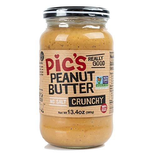 Pic's Crunchy Peanut Butter, No Salt (13.4oz) Made With All Natural Non GMO Peanuts, No Added Sugar, Delicious Gourmet Chunky Texture, Healthy Source of Protein, Vegan -
