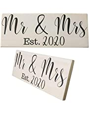 Mr and Mrs Sign (Hanger & Stand Included) Large Wedding Gift Decoration, Natural Stained Wood, Couples Engagement Bridal Shower Gifts