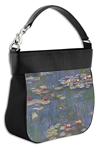 Front Hobo Trim Genuine w Leather Water Lilies Purse by Monet Claude wxvHIS