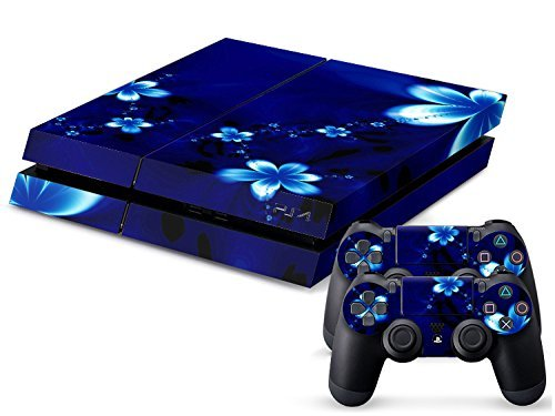CSBC Skins Sony PS4 Design Foils Faceplate Set - Blue Flower Design