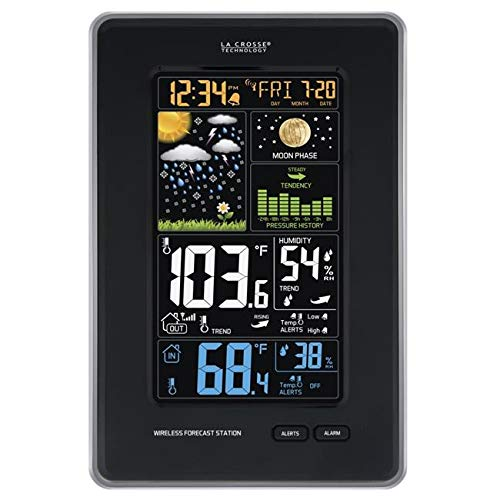 OKSLO MAKEITHAPPEN Digital Vertical Wireless Weather Station with Pressure, Black