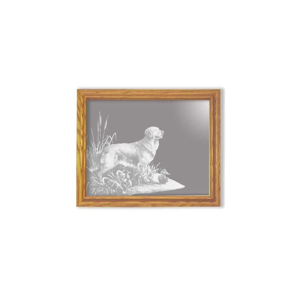 Etched Mirror Golden Retriever Dog Art Rectangle