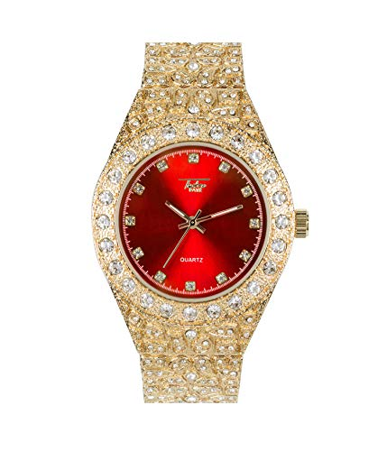 - Men's Iced Out Gold Watch with Simulated Diamonds and Nugget Style Hip Hop Band - Red Dial