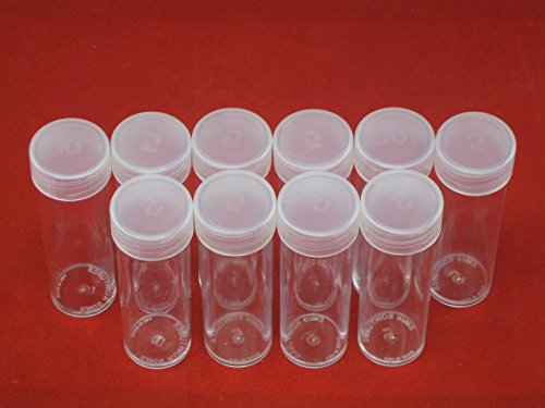 (10) Edgar Marcus Brand Round Clear Plastic (Nickel) Size Coin Storage Tube Holders with Screw on Lid