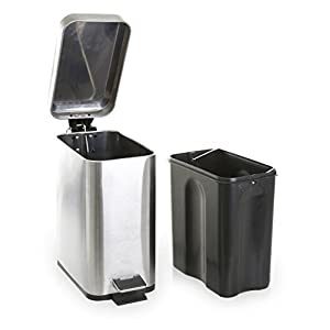 BINO Stainless Steel 1.3 Gallon/5 Liter Rectangle Step Trash Can, Brushed Steel