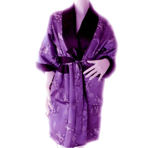Traditional Beijing Dragon Robe, Kimono Bathrobe Style *Purple / BLACK* Large: Best fit for Chests 42-44