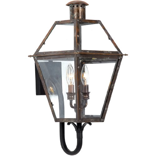 (Quoizel RO8311AC Rue De Royal 2-Light Outdoor Lantern, Aged Copper)