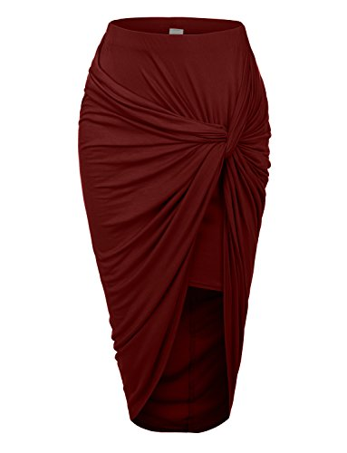 RubyK Womens Asymmetrical Banded Waist Wrap Cut Out Hi Low Maxi Skirt,Large,BURGUNDY