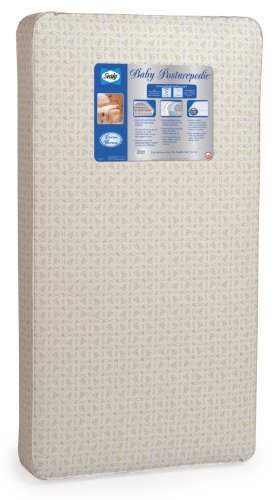 "Sealy Baby Posturepedic Infant/Toddler Crib Mattress -220 PostureTech Sensory Coils, Orthopedically Designed Coil System, Hospital-Grade Waterproof Cover, Secure Edges, Anti-Sag System, 52""x28"""