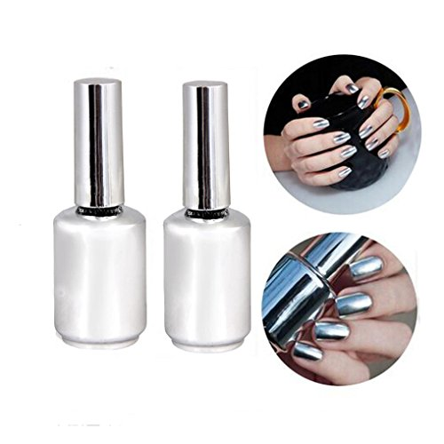 tenworld 1 set of 2 metallic mirror effect nail polish