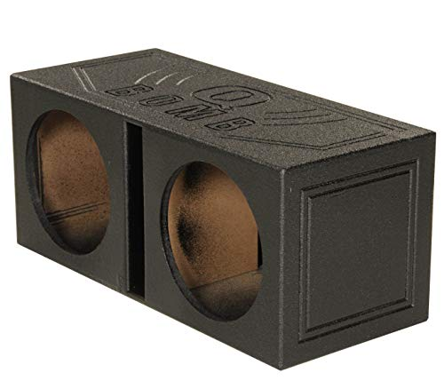 Q Power QBOMB12V Dual 12-Inch Vented Speaker Box with Durable Bed Liner - 12 Dual Speaker Inch