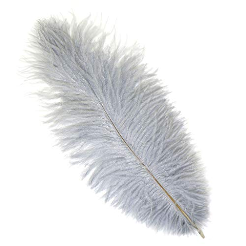 - Ostrich Feathers for Centerpieces- Wedding Decorations- Feathers for Crafts, 12 Pieces, 13-16 inch, Silver