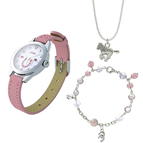Relda Pink Horse Watch and Girls Jewellery Set - Watch Gift Set for Kids with Silvertone Horse Necklace & Bracelet from Relda