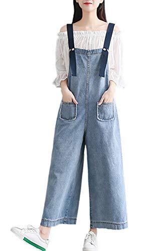 Women Jeans Spring Autumn Casual Plus Size Wide Leg Denim Overalls Blue ()