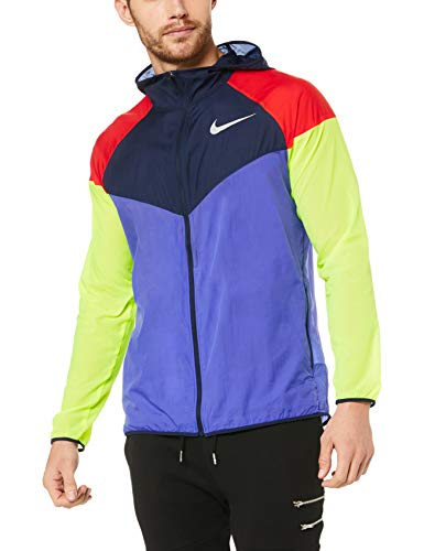 68e1ca7f4e53c3 Nike Men's Windrunner Running Jacket, Persian Violet/Obisidian/Reflect  Silver, Size Large