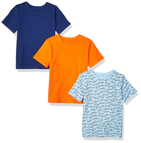Amazon Essentials Toddler Boys' 3-Pack Short Sleeve Tee, Shark/Blue/Orange, -