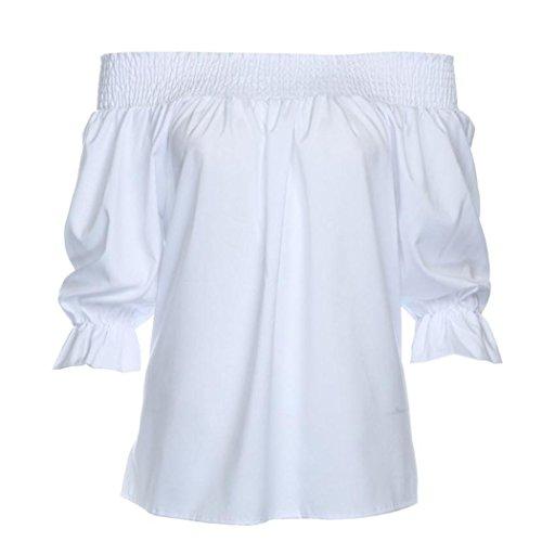 (Women Ruffles Shirt, Inkach Stylish Girls Off Shoulder Lotus Leaf Sleeves Casual Loose Top Blouse Beach T-Shirt (S, White))