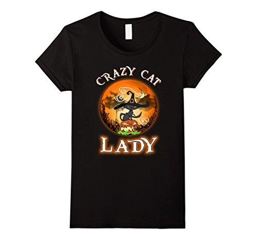 Womens Crazy Cat Lady Halloween T-shirt Halloween Cat Moon Tee Large (Crazy Dog Lady Costume)
