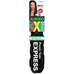 "Vivica A Fox Hair Collection Jumbo 3X Braid 84"" (4 Pack, Color 1B)"
