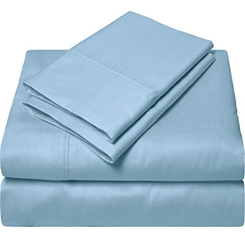 SGI bedding Queen Sheets Luxury Soft 100% Egyptian Cotton - Sheet Set for Queen Mattress Light Blue Solid 600 Thread Count Deep Pocket (Best Dry Iron Box In India)