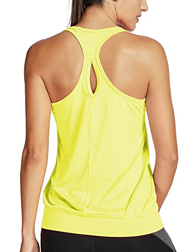 - SYROKAN Women's Active Racerback Athletic Sports T-Shirt Long Yoga Crop Tank Top Chartreuse L (12)
