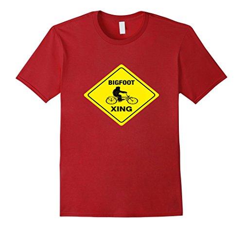 Men's Funny Bigfoot Sasquatch Skunk Ape Riding Bicycle Sign Tee 3XL Cranberry (Bigfoot Costumes For Kids)
