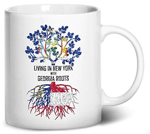 Coffee Grinder Peach (Tenacitee Living In New York with Georgia Roots Coffee Mug, 11oz, White)