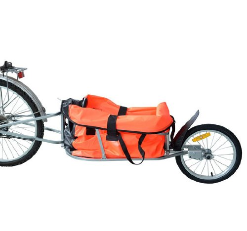 Aosom Solo Single Wheel Bicycle Cargo Bike Trailer, Orange