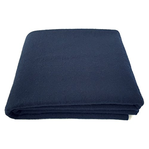 EKTOS 100% Wool Blanket, Navy Blue, Warm & Heavy 5.5 lbs, Large Washable 66