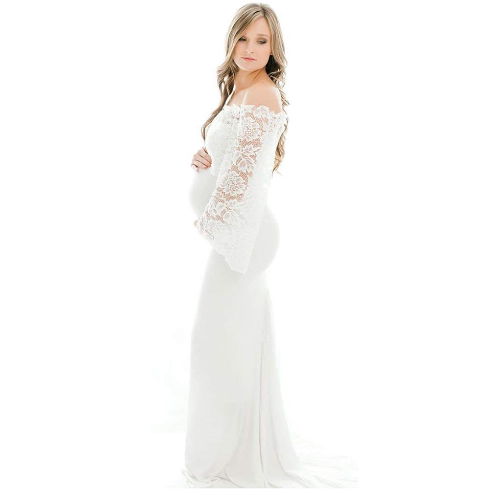 SICILY Lace Top Chiffon Maternity Photography Props Dress Evening Bride Bridesmaids Gown Wedding Photo Shoot (XL, Bell Sleeve White)